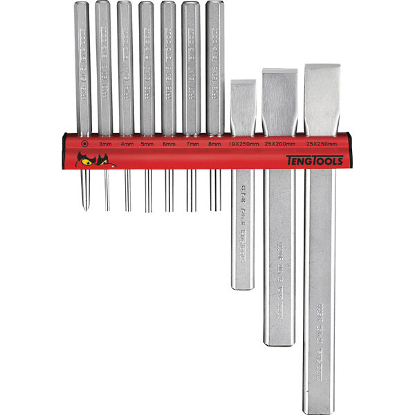 Teng 10pc Punch & Chisel Set w/ Wall Rack