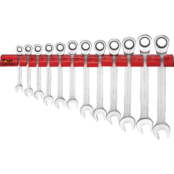 Teng 12pc Ratchet Comb Span Set 8-19mm W/Wall Rack