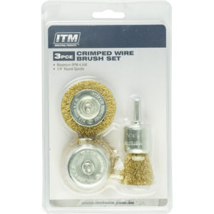 ITM 3 Piece Crimp Wire Brush Kit