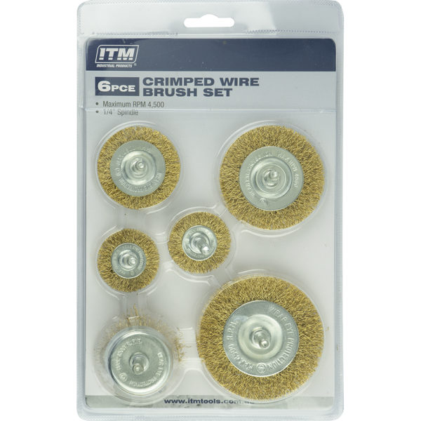 ITM 6 Piece Crimp Wire Wheel Brush Kit
