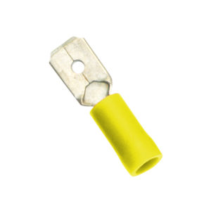 Yellow Male Push-On Spade Terminal-100Pk