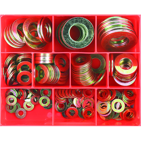 175Pc High Tensile Flat Washer Assortment (Zinc)