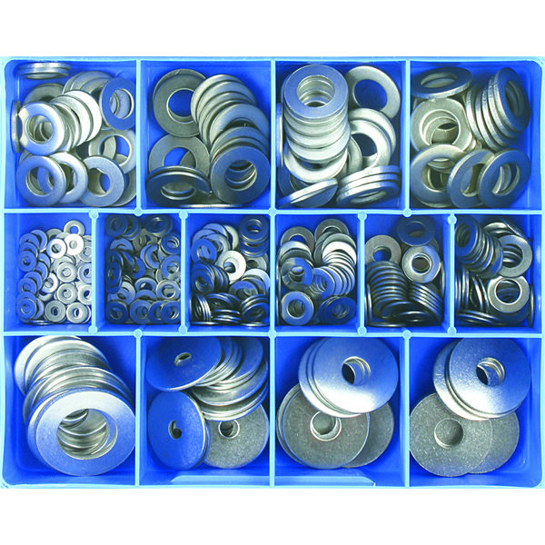 385PC STAINLESS FLAT WASHER ASSORTMENT (MM/IMP)