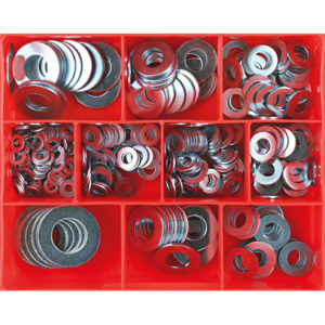 330PC MM/SAE FLAT STEEL WASHER ASSORTMENT (ZINC)