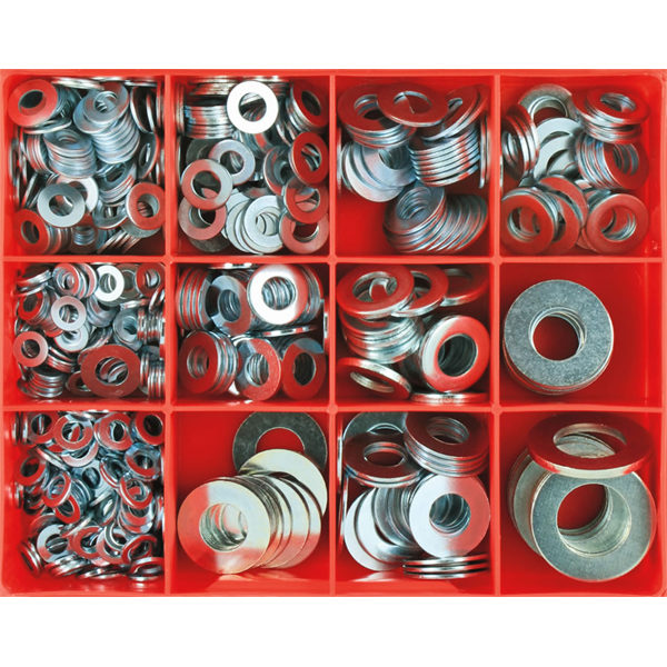 695pc Flat Steel Washer Assortment