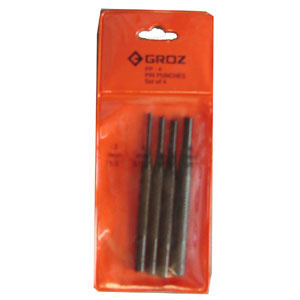 Groz 4pc Pin Punch Set - 4in x 100mm Long