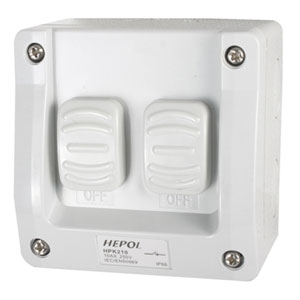10A Weatherproof 2 Gang Surface Switch IP66**