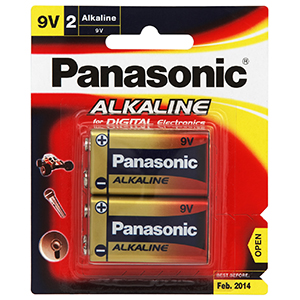 Panasonic 9V Battery Alkaline - 2pc