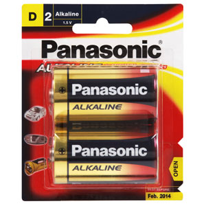 Panasonic D Battery Alkaline - 2pc