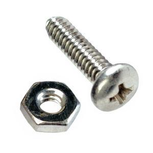 1/4in x 1in Round Head Screw/Nut-100Pk
