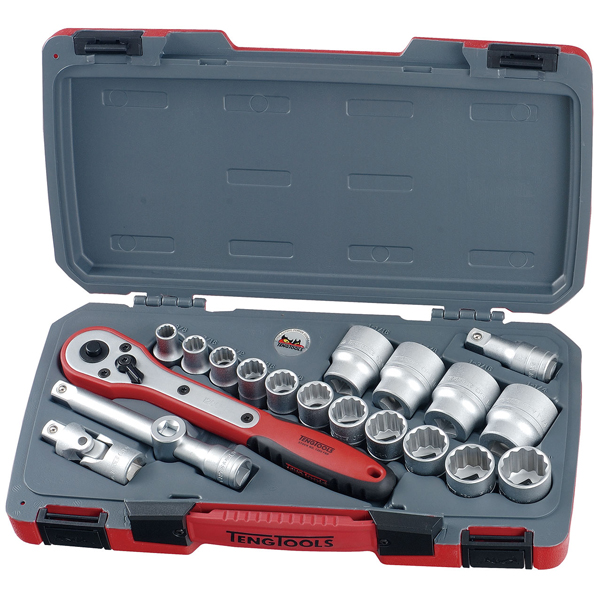 Teng 20pc 1/2in Dr. AF Reg. Socket Set 12Pnt