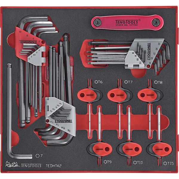 Teng 42pc MM/AF Hex & TX Ball-End Key Set - TTD-Tray