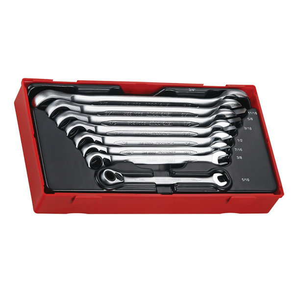 8PC REVERSIBLE RATCHET ROE SPANNER SET 5/16-3/4IN