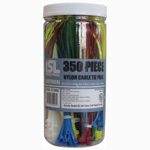 350PC COLOURED CABLE TIE ASSORTED PACK